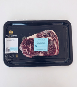 Fresh, tender and generous marbling throughout Angus Beef Ribeye Steak with spices, garlic and red grape tomato.