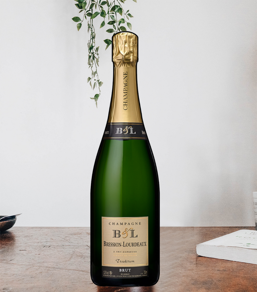 A bottle of one of the best champagnes from France, Champagne Bression-Lourdeaux, Brut Tradition Blanc de Noirs