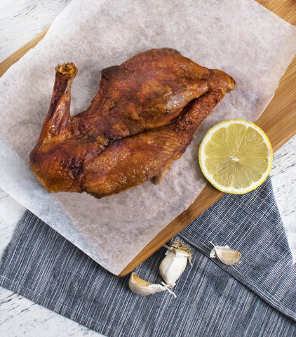 Honey-glazed roast duck from Silver Hills Farm in Ireland.