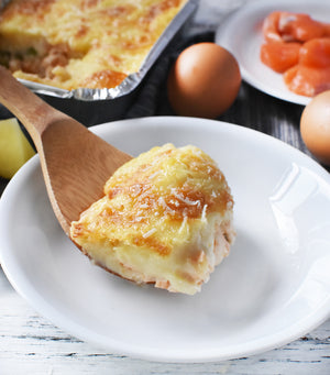 Load image into Gallery viewer, A serving of delectable fish pie made using Sasha's own recipe