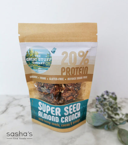 Super Seed Crispy Bites with Almond Crunch with Hemp Seeds, Cocoa & Orange