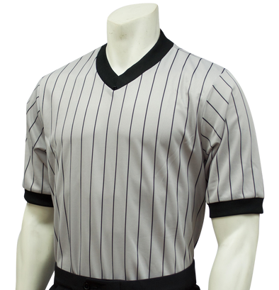 Smitty v-neck referee shirt (grey pinstripe)