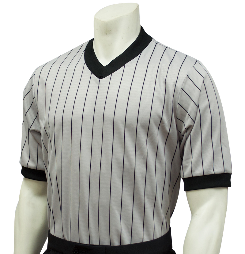 Smitty v-neck womens referee shirt (grey pinstripe)