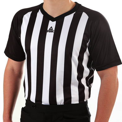 PEAK mesh v-neck basketball referee shirt (black/white)