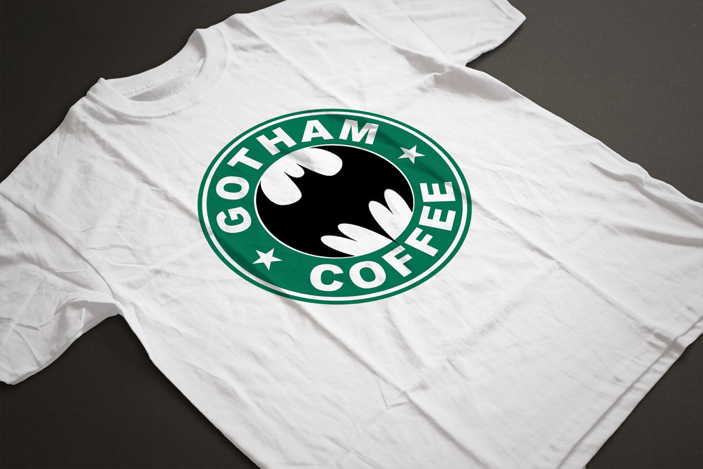 Gotham Coffee BATMAN/STARBUCKS Parody T-Shirt - Sublimation Print - eightbittees