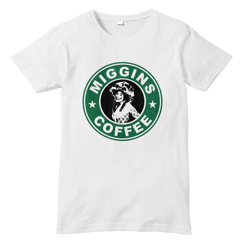 Blackadder MRS MIGGINS/STARBUCKS ParodyT-Shirt - Sublimation Print - eightbittees