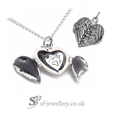 Personalised Angel Wing Locket & Silver Heart Charm