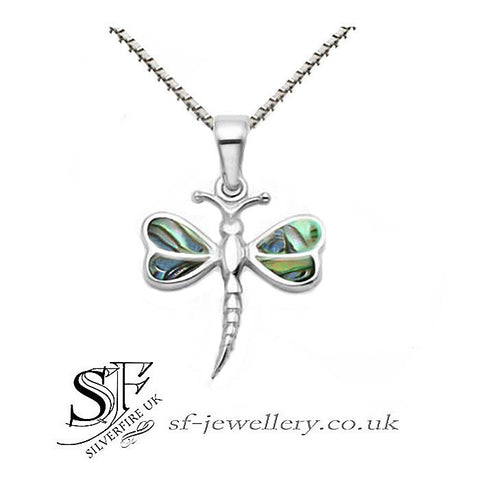 dragonfly necklace paua shell