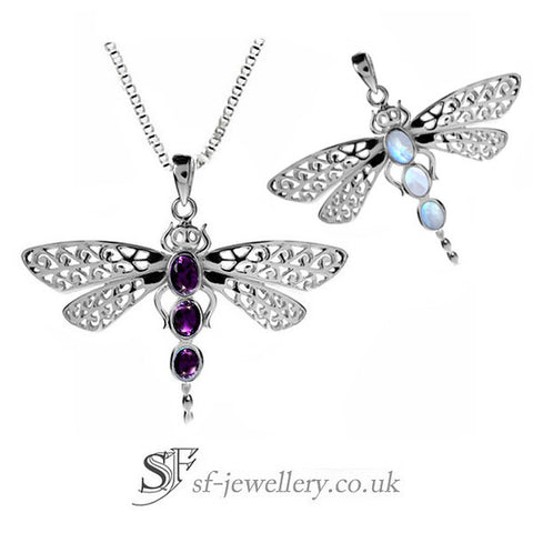 Dragonfly jewellery with gemstones