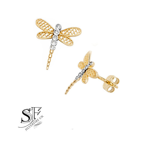 gold dragonfly stud earrings