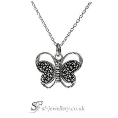 Butterfly Necklace Marcasite Gemstones