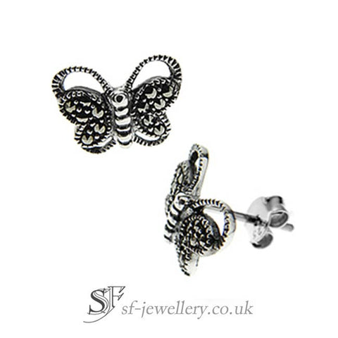 Marcasite Butterfly Stud Earrings, 925 silver