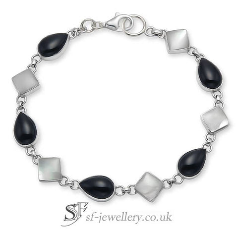 Onyx & Mother of Pearl Bracelet, 925 Silver