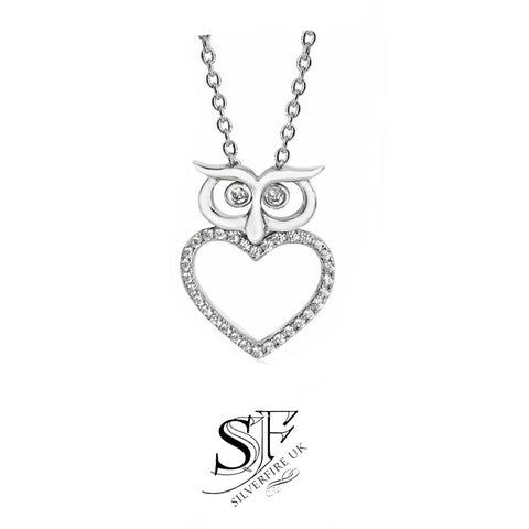Silver animal pendant necklaces silver animal insect owl heart necklace mozeypictures Images