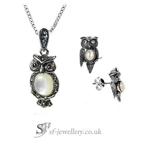 Owl Jewellery Set, Silver & Mother Of Pearl Owl Set