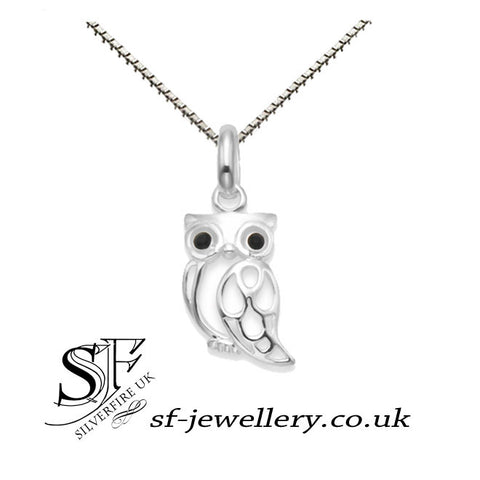 owl pendant with black eyes, owl necklace