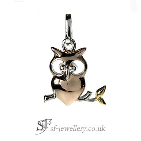 Owl Pendant in Silver & Gold