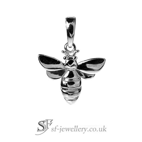 Silver Bee Pendant, Bumblebee Necklace