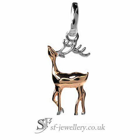 Silver & Rose Gold Stag Pendant