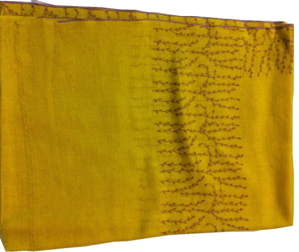 Pure pashmina stole with tulip hand embroidery