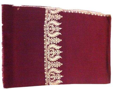 Purple pure pashmina stole with beige hand embroidery