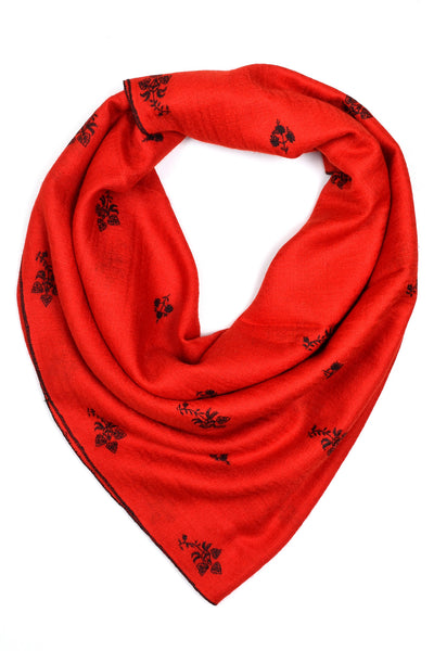 Red Pashmina Stole with Booti Hand Embroidery