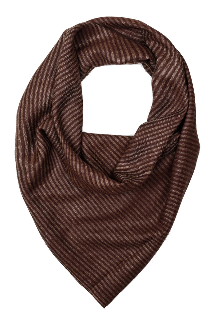Chocolate brown stripes pure pashmina stole