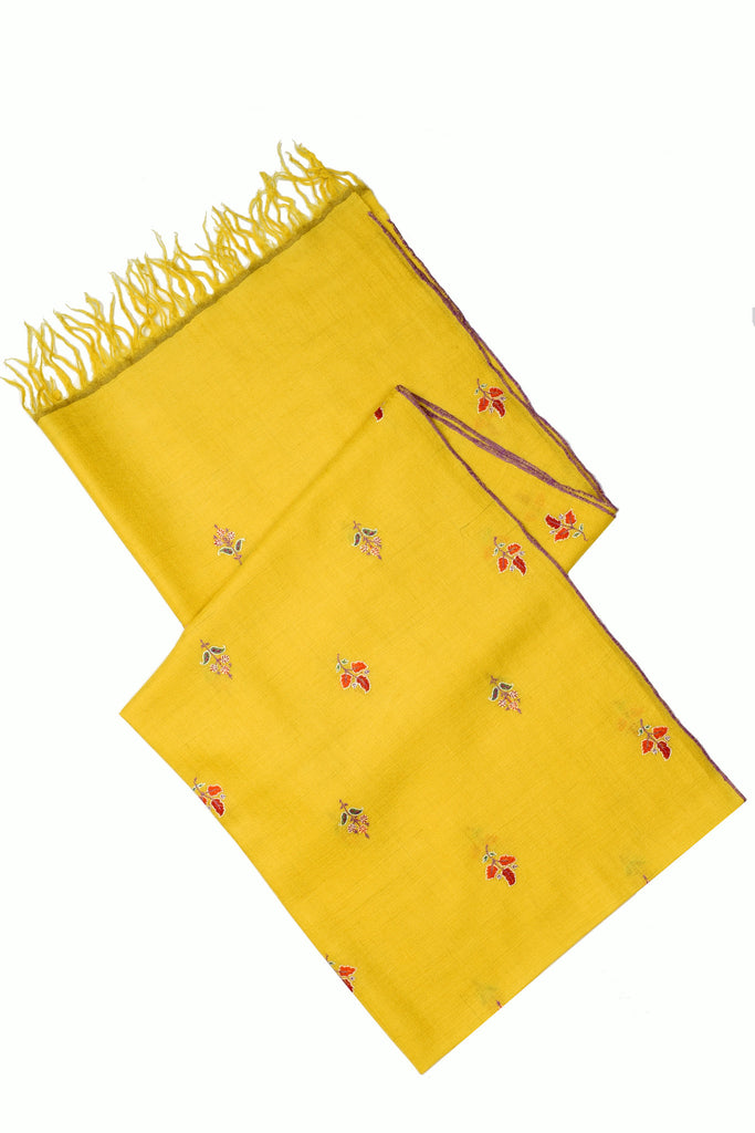 Yellow pure pashmina stole with floral hand embroidery
