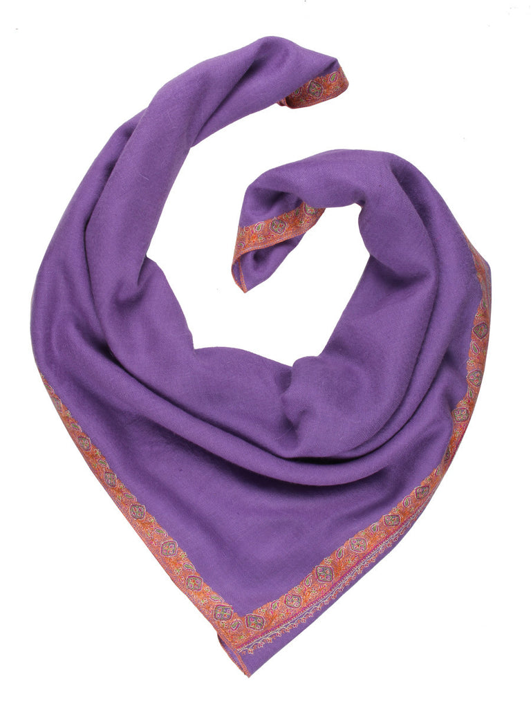 Lavender pashmina stole with hand embroidery on border