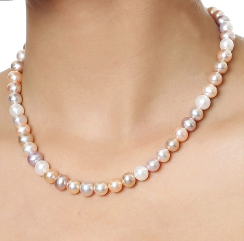 Single Strand Multi Color Fresh Water Pearls Necklace