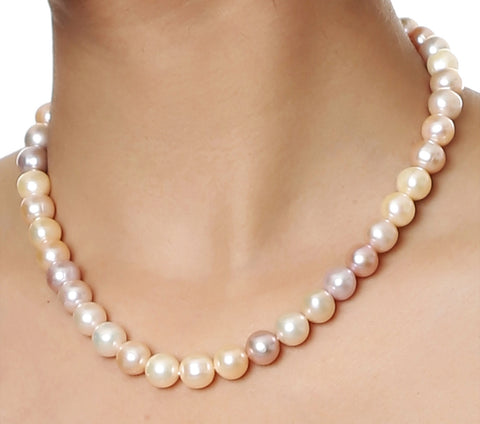 Single Strand Multi Color Fresh Water Big Pearls Necklace