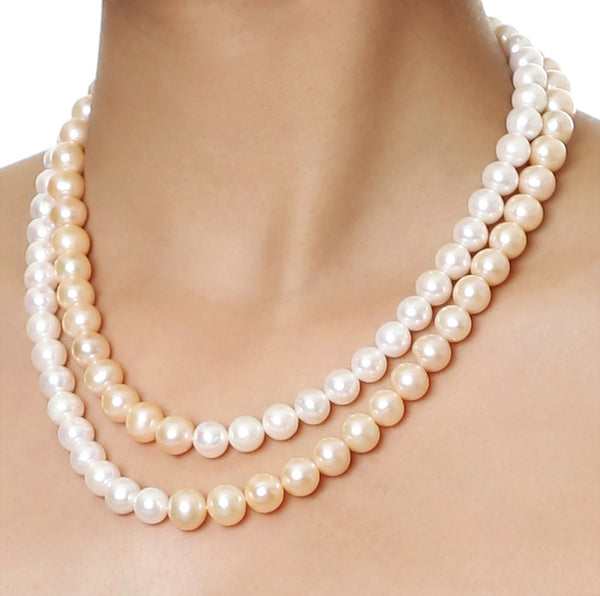 Double Strand Pink and White Fresh Water Pearls Necklace