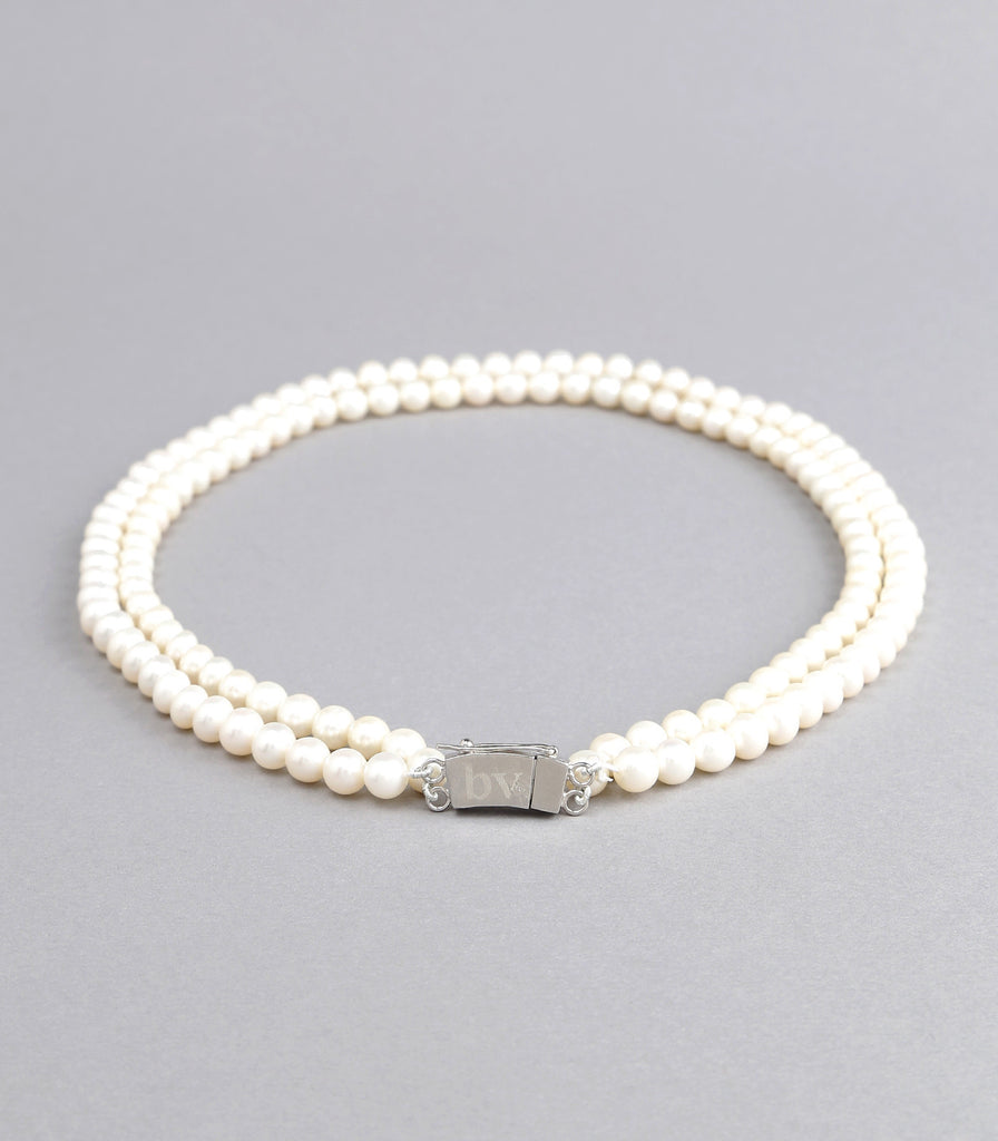 Double Strand White Fresh Water Pearls Necklace