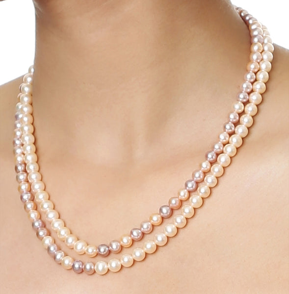 Double Strand Multi colour Fresh Water Pearls Necklace