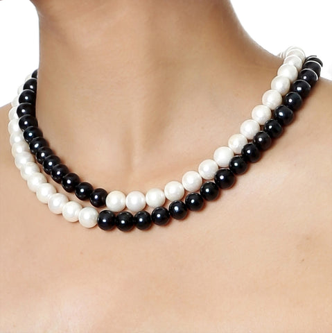 Double Strand Black and White Freshwater Pearls Necklace