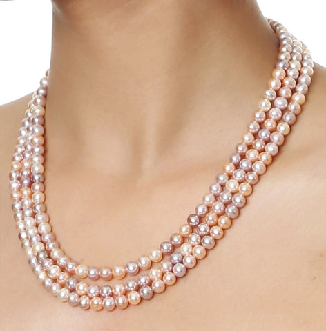 Triple Strand Multi Color Fresh Water Pearls Necklace