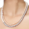 Double Strand Multi Color Fresh Water Pearls Necklace with Gold Rings