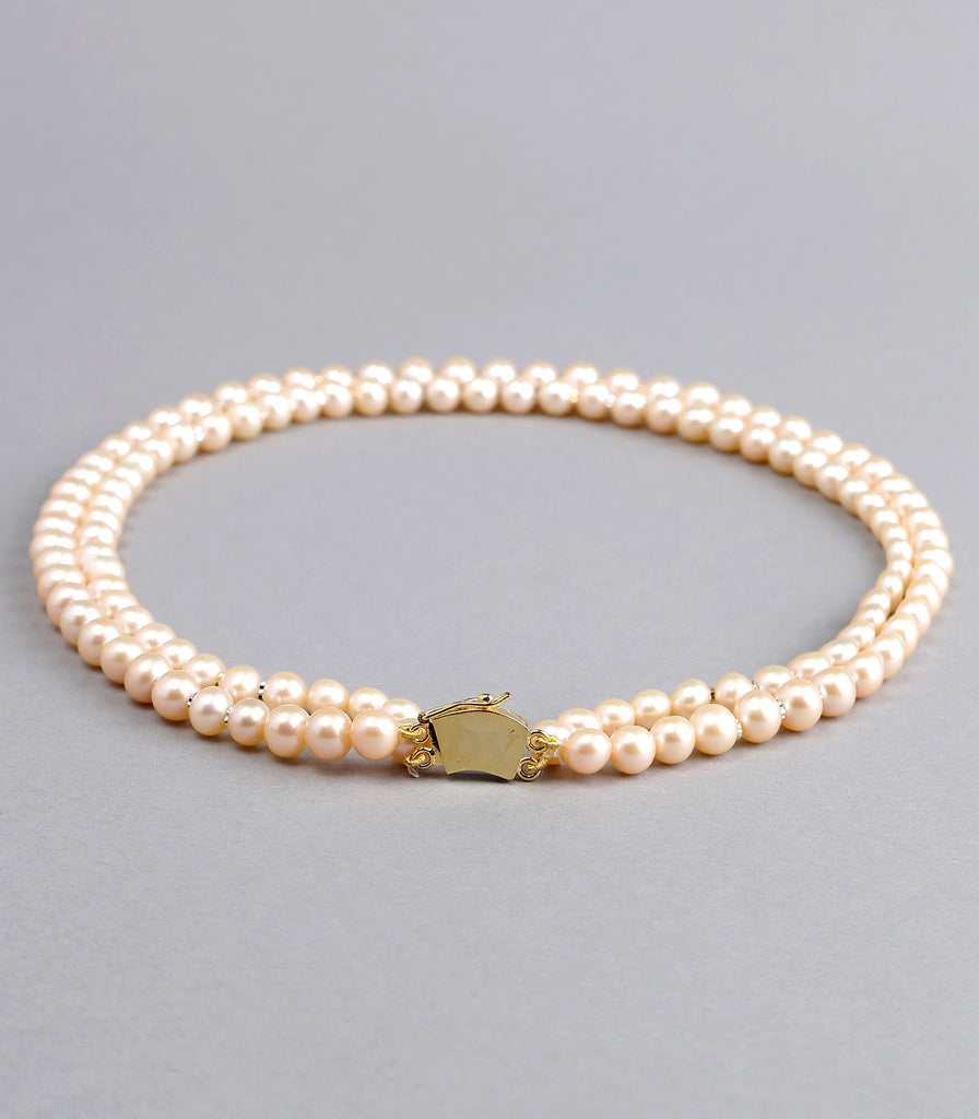 Double Strand Pink Fresh Water Pearls Necklace with Gold Rings