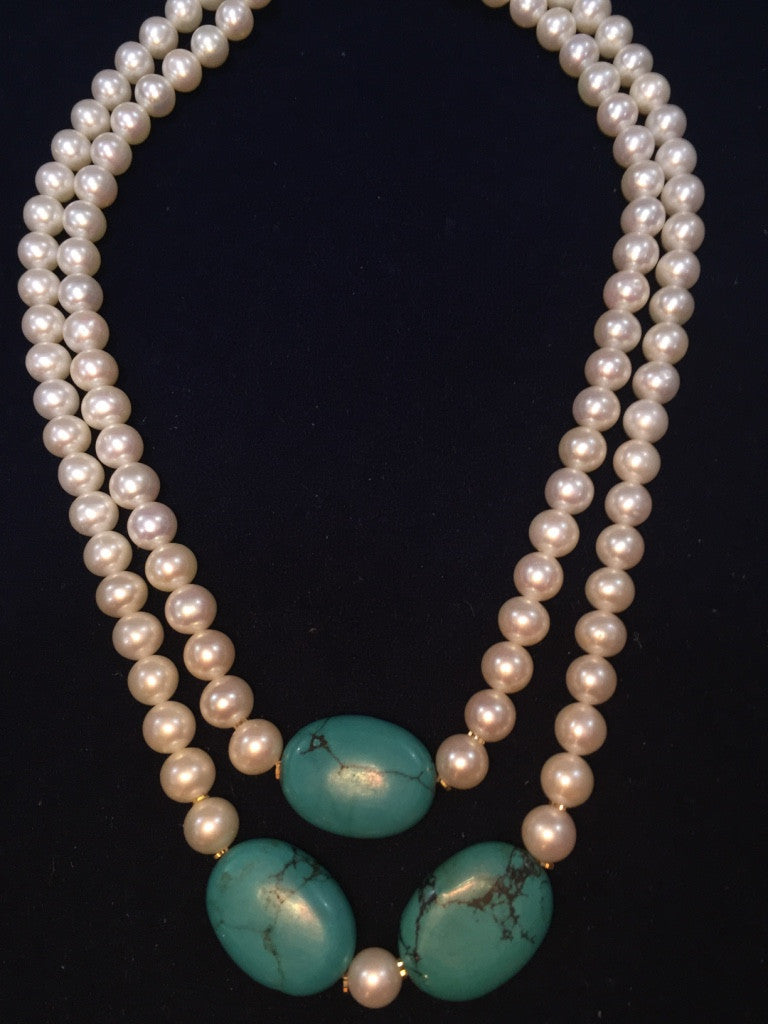 Double Strand White Fresh Water Pearls Necklace with Gold Rings and Blue Stones
