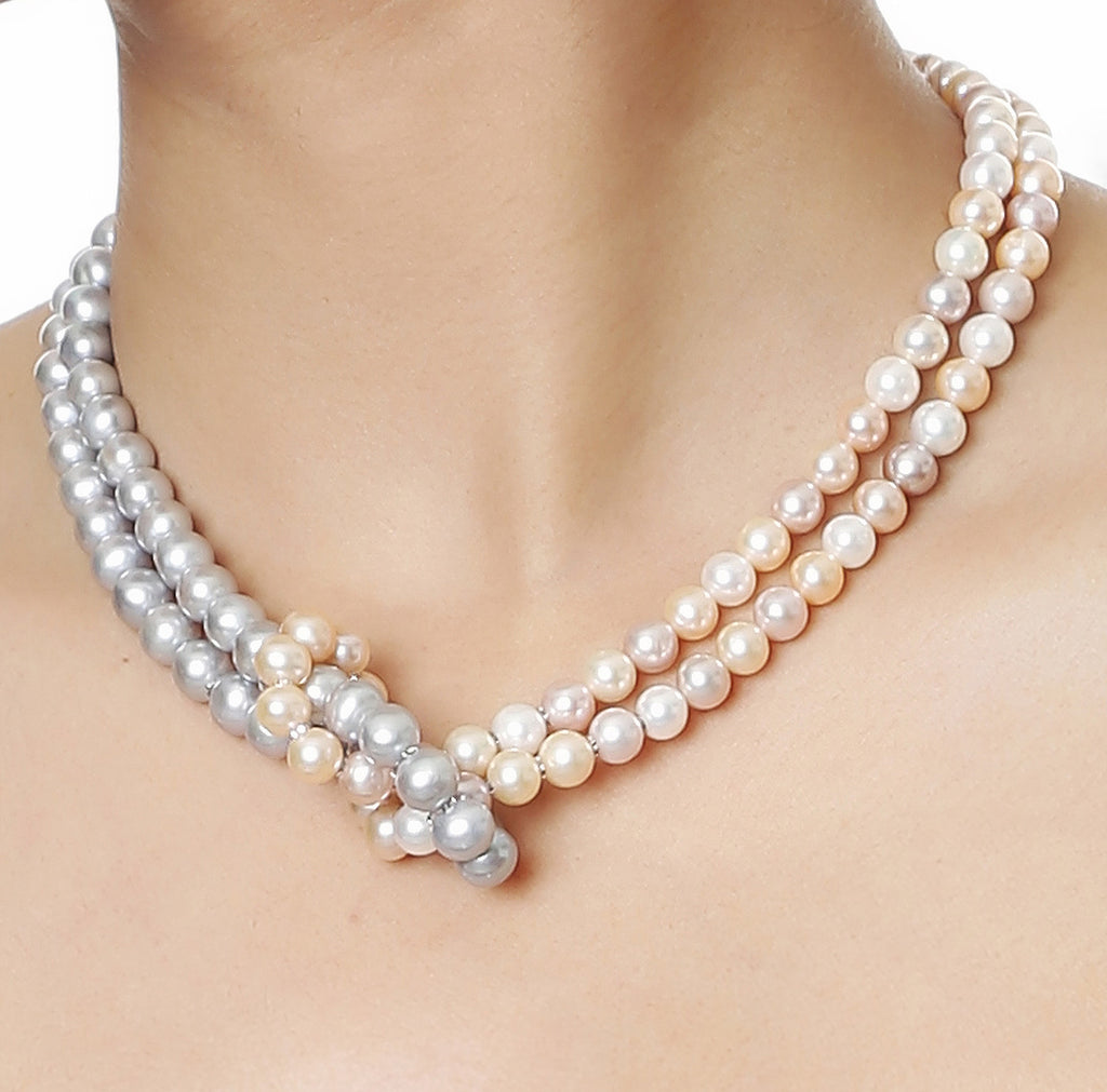 Double Strand Multi Color Knotted Fresh Water Pearls Necklace with Gold Rings