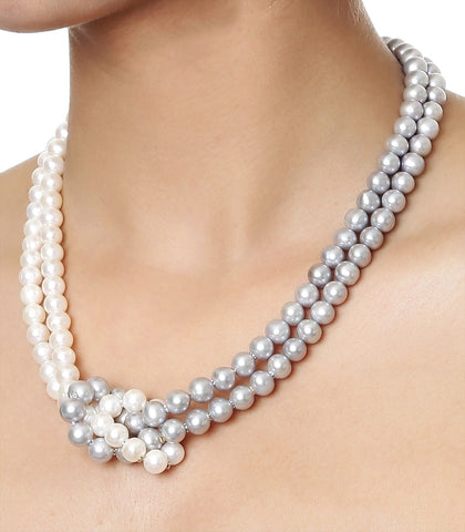 Double Strand White & Grey Knotted Fresh Water Pearls Necklace with Gold Rings