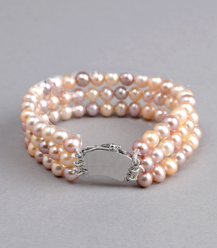 Triple Strand Multi Color Fresh Water Pearls Bracelet