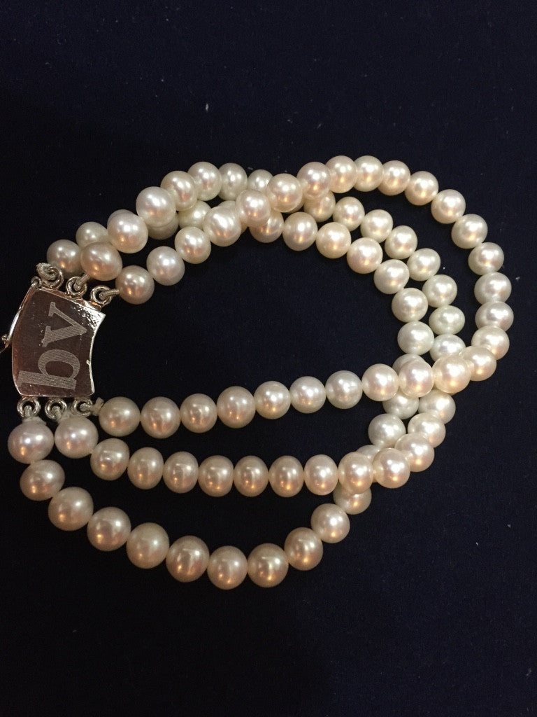 Triple Strand White Fresh Water Pearls Bracelet