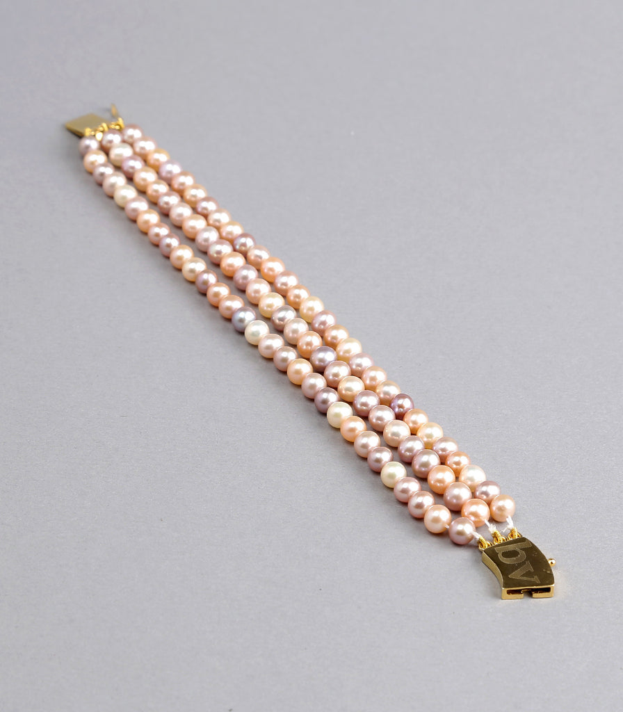 Triple Strand Multi Color Fresh Water Pearls Bracelet with Gold Clasp