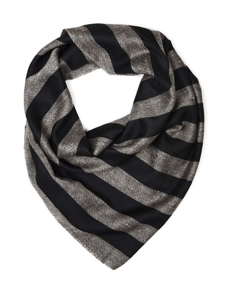 Black & Grey Broad Stripes Pure Pashmina Stole with chashme bulbul weaving