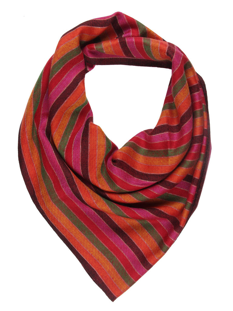 Bright Multicolor stripes Pure Pashmina Stole with chashme bulbul weave