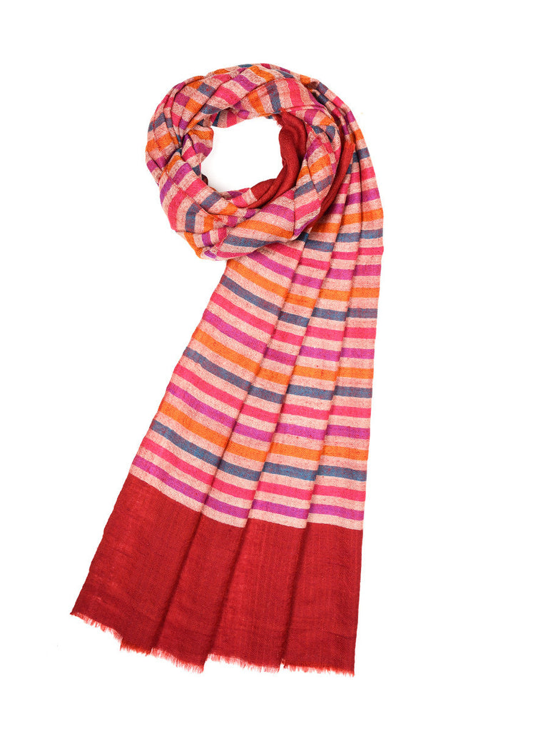 Multicolor narrow stripes pure pashmina stole with Red palla