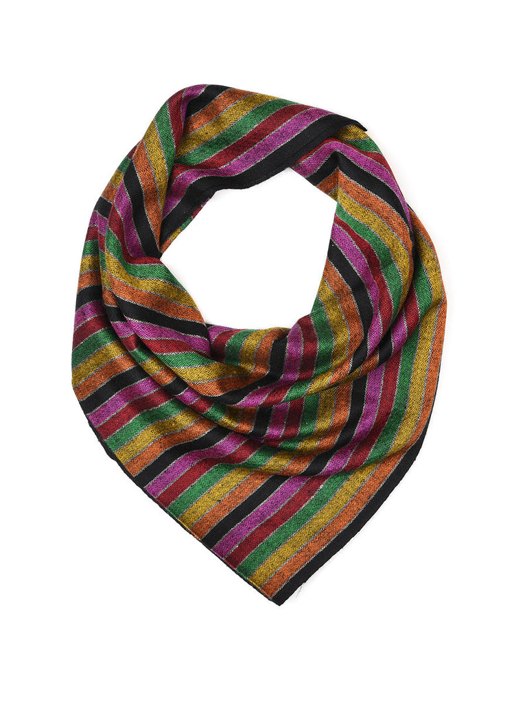 Multicolor stripe pure pashmina stole with chashme bulbul weave