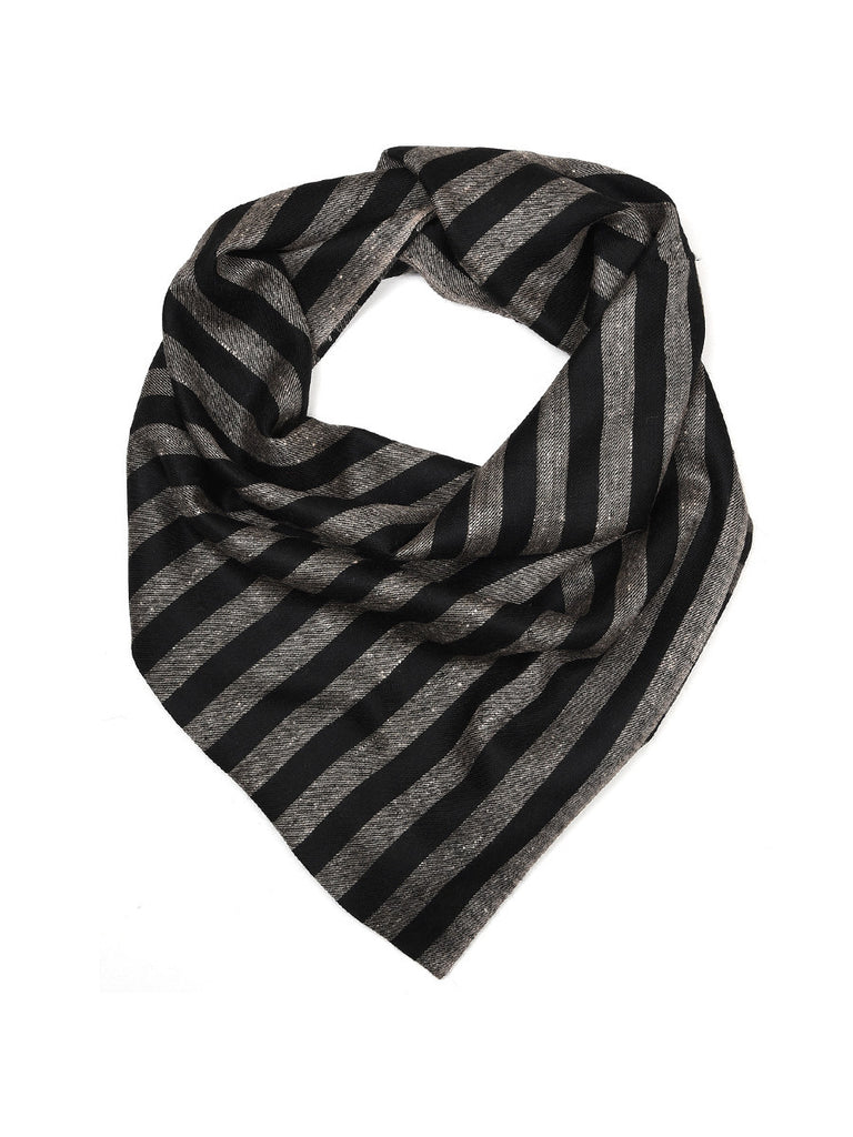 Black & Grey Narrow Stripes Pure Pashmina Stole