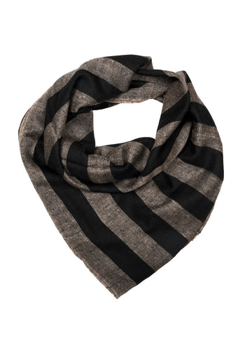 Black & Gray broad stripes pure pashmina stole